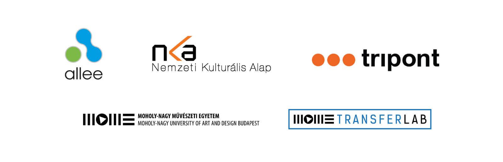Közreműködők, partnerek logói: Nemzeti Kulturális Alap, Allee Bevásárlóközpont, Tripont, Moholy-Nagy Művészeti Egyetem, Mome Transferlab
